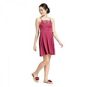 NEW Xhilaration Lace Up Side Dress Large Magenta